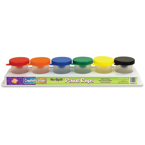 ChenilleKraft No-Spill Paint Cups - 6-Pack Multi Colored Tray CKC5106