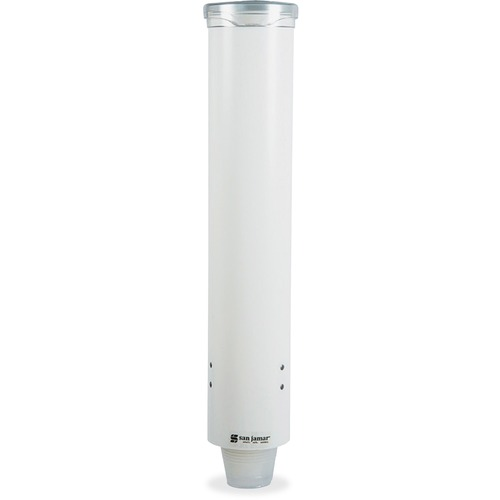 San Jamar Small Pull-Type Water Cup Dispenser, White SJMC4160WH