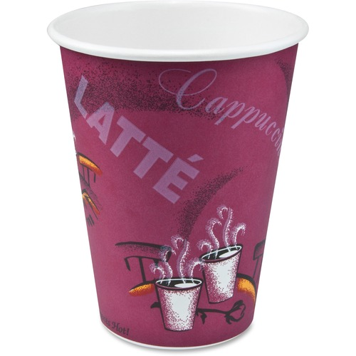 SOLO Cup Company Bistro Design Hot Drink Cups, Paper, 12oz, Maroon, 50/Pack SCC412SINPK