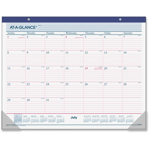 At-A-Glance 2-Color Monthly Calendar Desk Pad AAGAYST2417