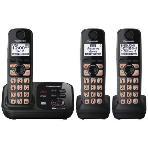 Panasonic Cordless Phone - 1.90 GHz - DECT 6.0 - Black PANKXTG4733B