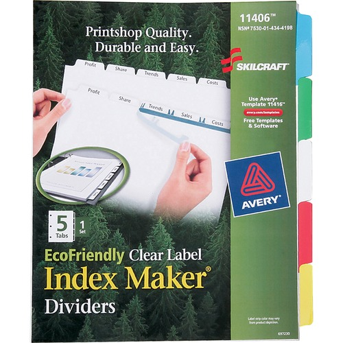 Skilcraft EcoFriendly Clear Label Index Divider NSN4344198