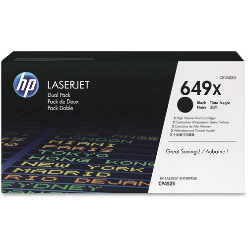 HP 649X 2-pack High Yield Black Original LaserJet Toner Cartridges HEWCE260XD