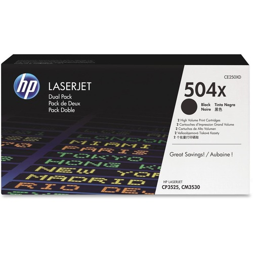 HP 504X 2-pack High Yield Black Original LaserJet Toner Cartridges HEWCE250XD