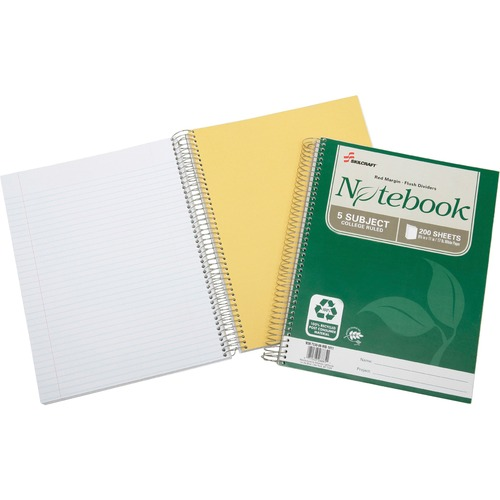 Skilcraft Five-subject Spiral Notebook NSN6002015
