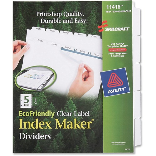 Skilcraft 5-tab Index Maker Divider NSN6006977
