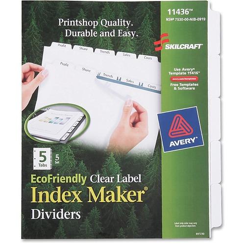 Skilcraft 5-Tab Clear Label Index Maker Divider NSN6006981
