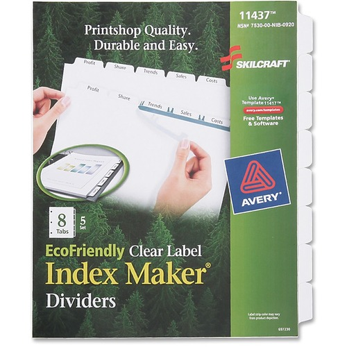 Skilcraft 8-Tab Clear Label Index Maker Divider NSN6006982