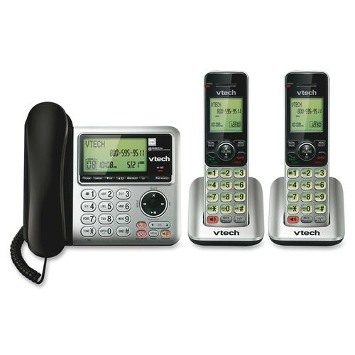 VTech CS6649-2 DECT 6 0 Expandable Corded-Cordless Phone with Answering System and Caller ID-Call Waiting Silver-Black with 2 Handsets