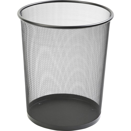 Lorell Black Mesh Round Waste Bin LLR52770