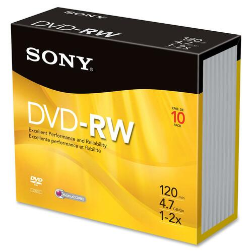 Sony DVD Rewritable Media - DVD-RW - 2x - 4.70 GB - 10 Pack SON10DMW47SS