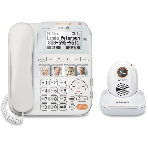 VTech CareLine SN1197 DECT 6 0 Expandable Corded Phone with Answering System and Cordless Pendant White with 1 Handset and 1 Pendant