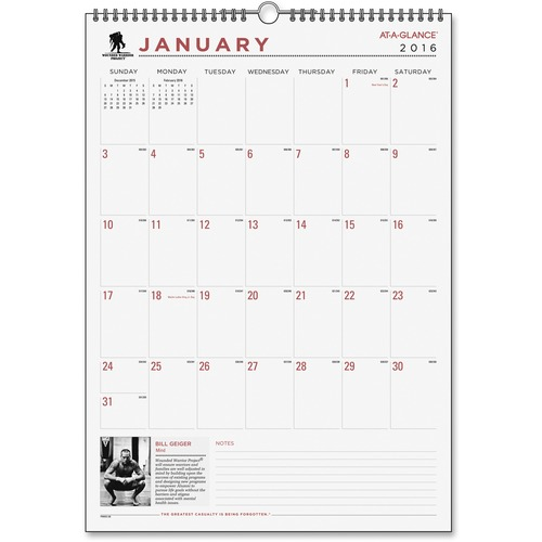 At-A-Glance Wounded Warrior Monthly Desk/Wall Calendar AAGPMW228
