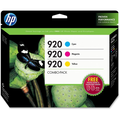 HP 920 Combo Pack Ink Cartridge/Paper Kit - Cyan, Magenta, Yellow HEWB3B30FN