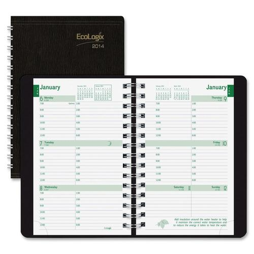 Rediform Ecologix Twin-wire Black Weekly Planner REDCB413WBLK