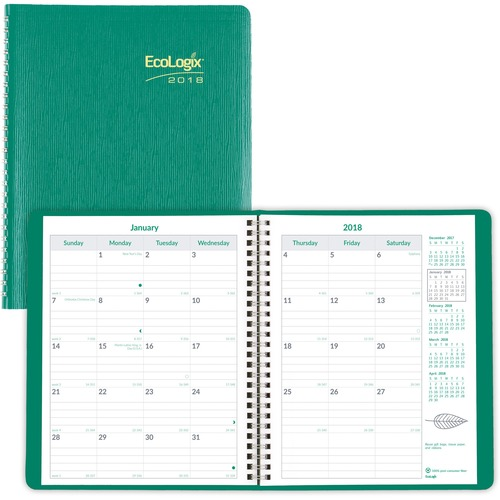 Rediform Eco-friendly Monthly Planner REDCB430WGRN