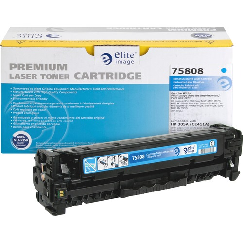 Elite Image Toner Cartridge - Remanufactured for HP (CE411A) - Cyan ELI75808