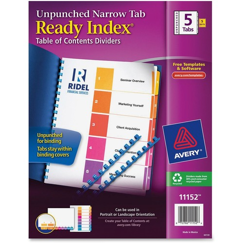 Avery Ready Index Unpunched Narrow Tab Dividers AVE11152