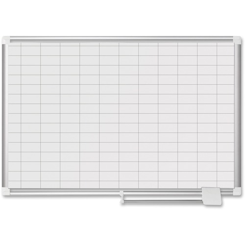 "MasterVision 1"" x 2"" Grid Magnetic Porcelain Pure White"