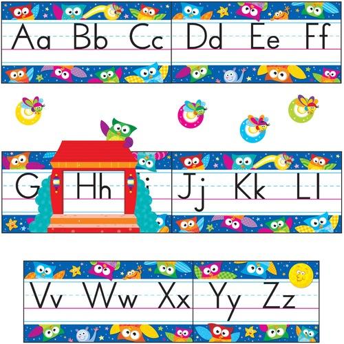 Trend Owl-Stars Alphabet Manuscript Bulltn Brd Set TEP8364-BULK