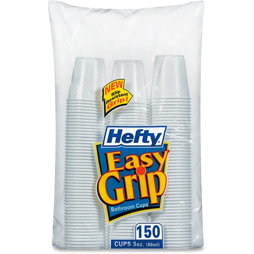 Hefty Easy Grip Disposable Plastic Bathroom Cups, 3oz, White, 150/Pack PCTC20315CT