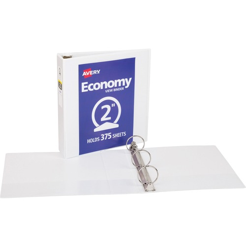 "Economy Vinyl Round Ring View Binder, 2"" Capacity, White AVE05731"
