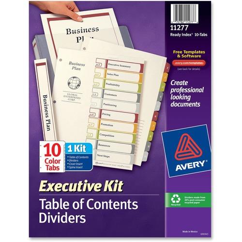 avery readyindex executive index divider kits