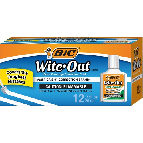BIC Wite-Out Extra Coverage Correction Fluid BICWOFEC12WE-BULK