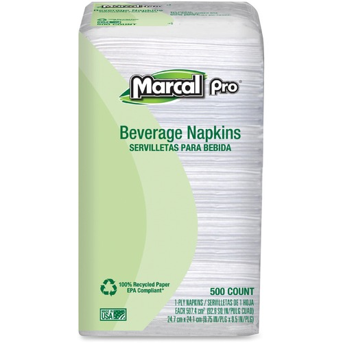 Marcal Paper Mills, Inc Mrc0028 Beverage Napkin, 1-Ply, 9.25 In. X 9.5 In, 4000-Ct, White MRC0028