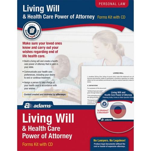 Adams Living Will & Power of Attorney for Health Care Kit ABFK306-BULK