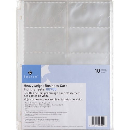 SPR00700-BULK Sparco Business Card Sleeves