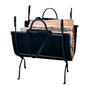 UniFlame Deluxe Black Wrought Iron Log Holder with Canvas Carrier
