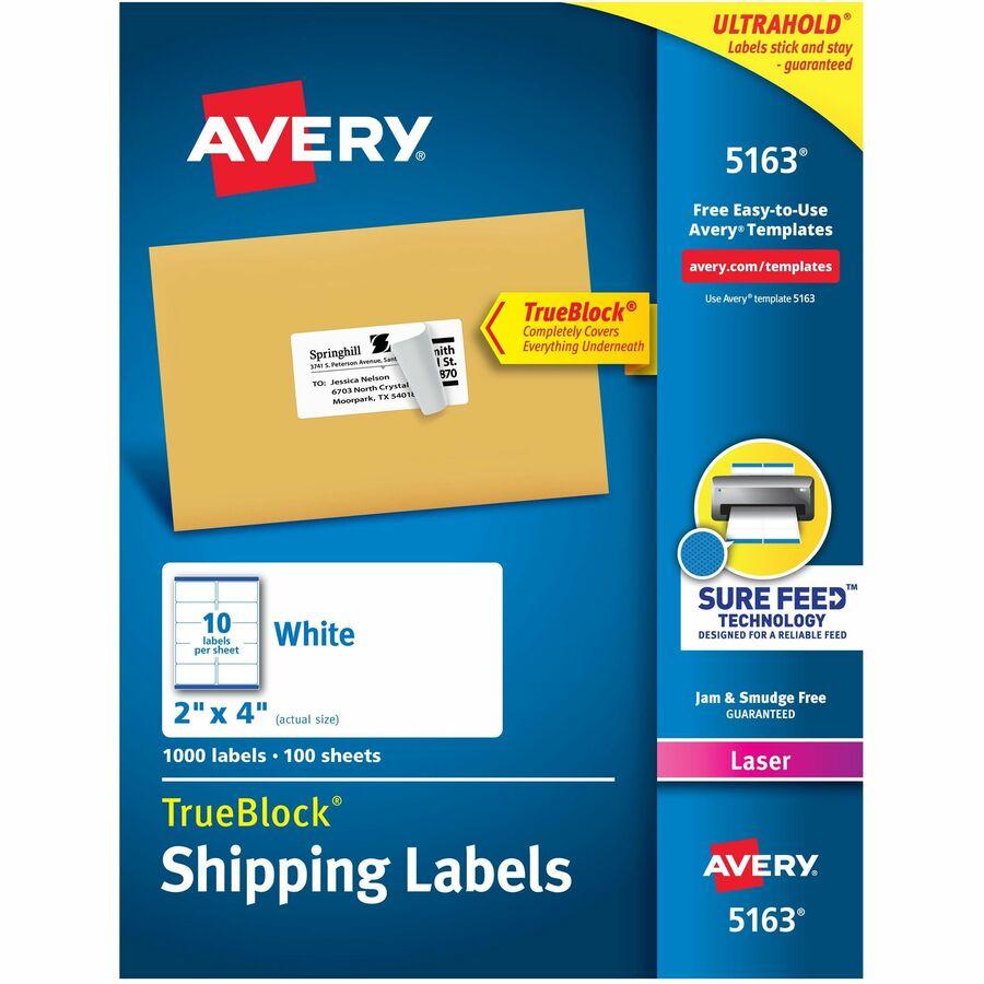averyreg shipping labels with trueblock technology ave5163