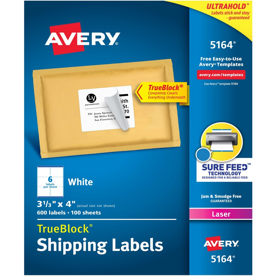 Avery Easy Peel White Shipping Labels - AVE5164 - Save Big ...