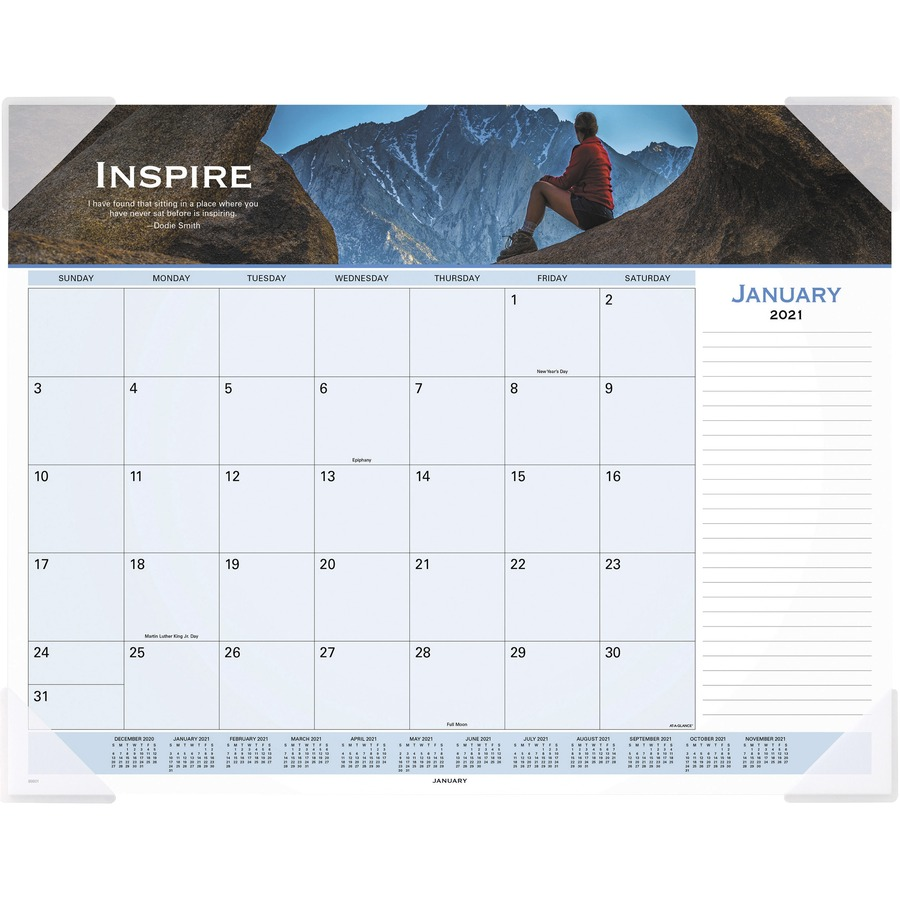 at a glance panoramic motivational monthly desk pad monthly 1 year january 2019 till december 2019 1 month single page layout 22 x 17 desk pad