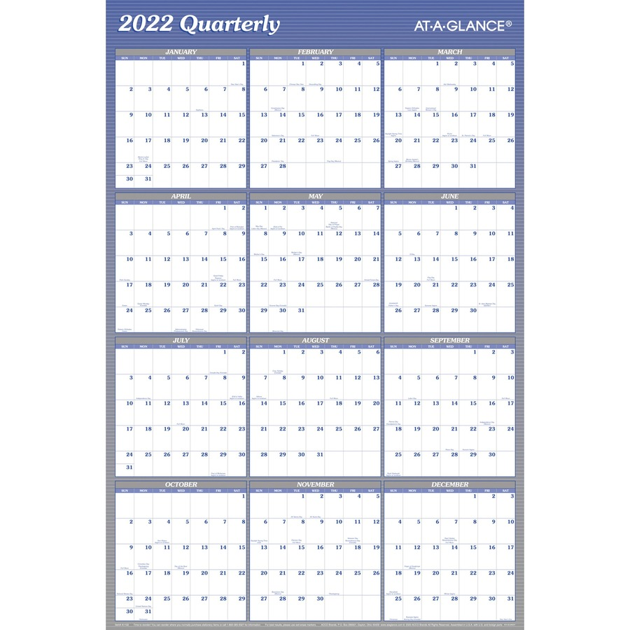 at a glance erasablereversible yearly wall planner monthly quarterly 1 year january 2019 till december 2019 36 x 24 wall mountable blue