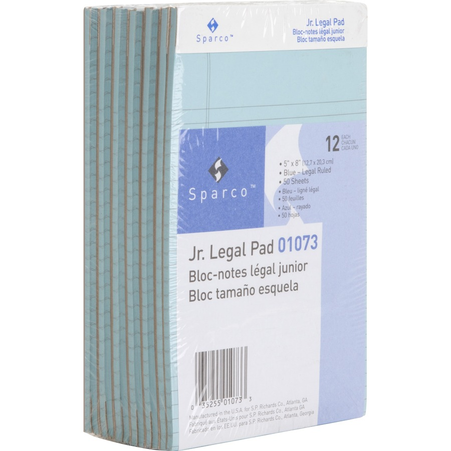 Sparco colored jr legal ruled writing pads jr legal Blue bond paper