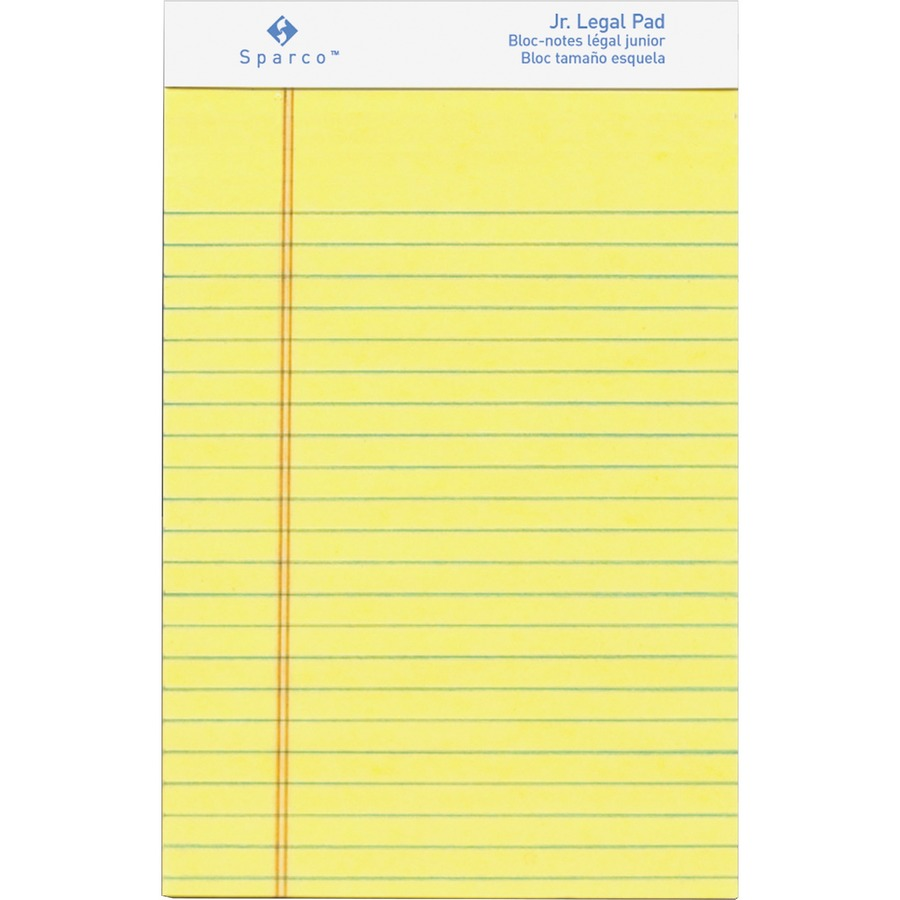 Sparco Junior Legal-Ruled Canary Writing Pads 50 Sheets - Printed ...