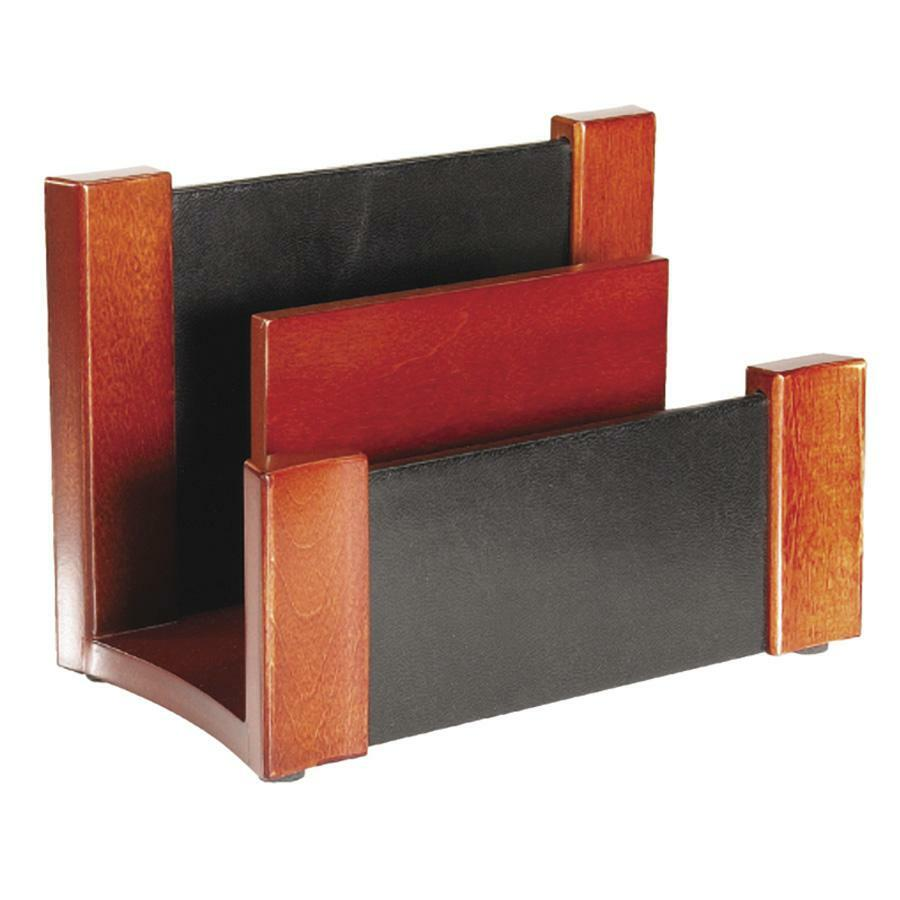 Rolodex leather wood desktop sorter - Desk organizer sorter ...