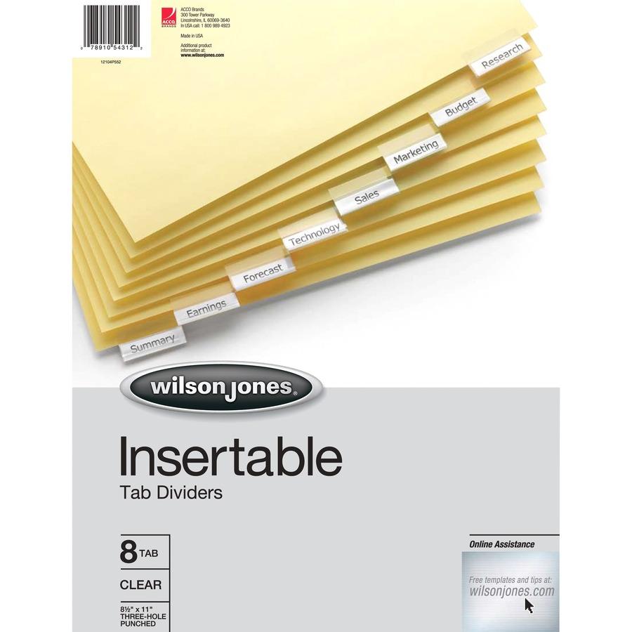 Wilson Jones® Insertable Tab Dividers, 8-Tab Set, Clear Tabs - Mac ...