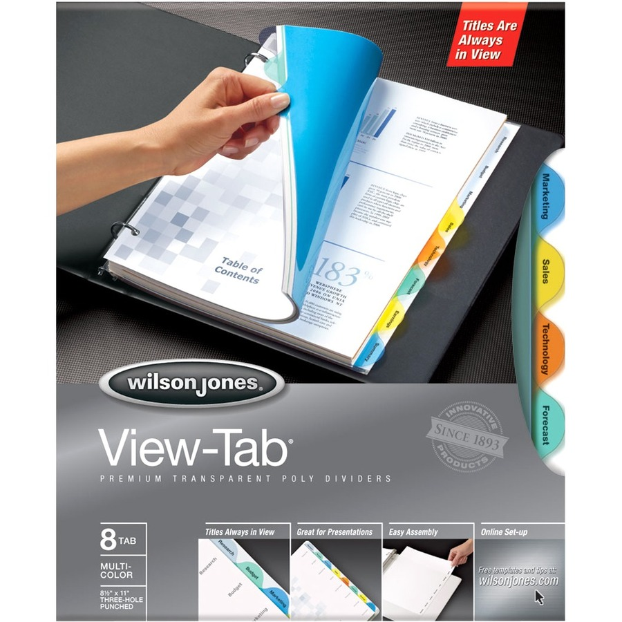 templates wilson jones 8 tabs - wilson jones view tab transparent dividers wlj55063
