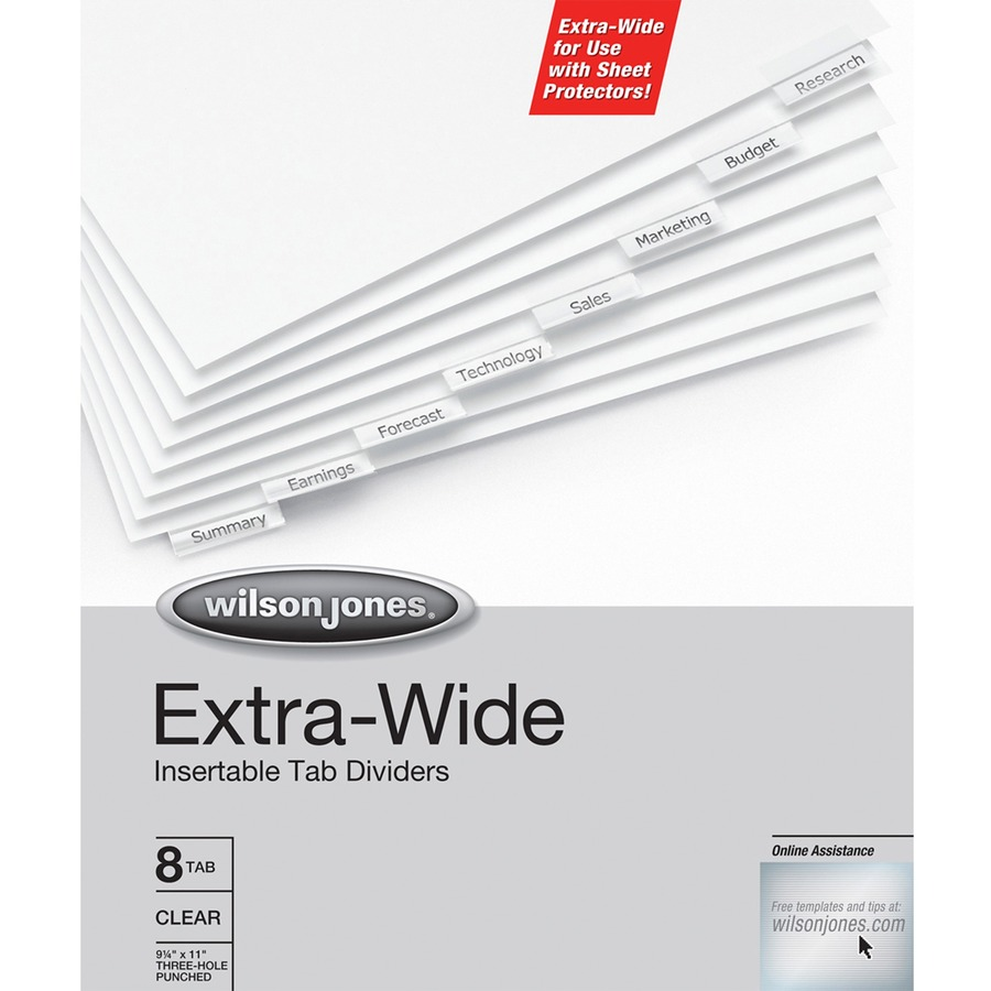 Wilson Jones Oversized Insertable Dividers 8 Tab Set Clear Tabs