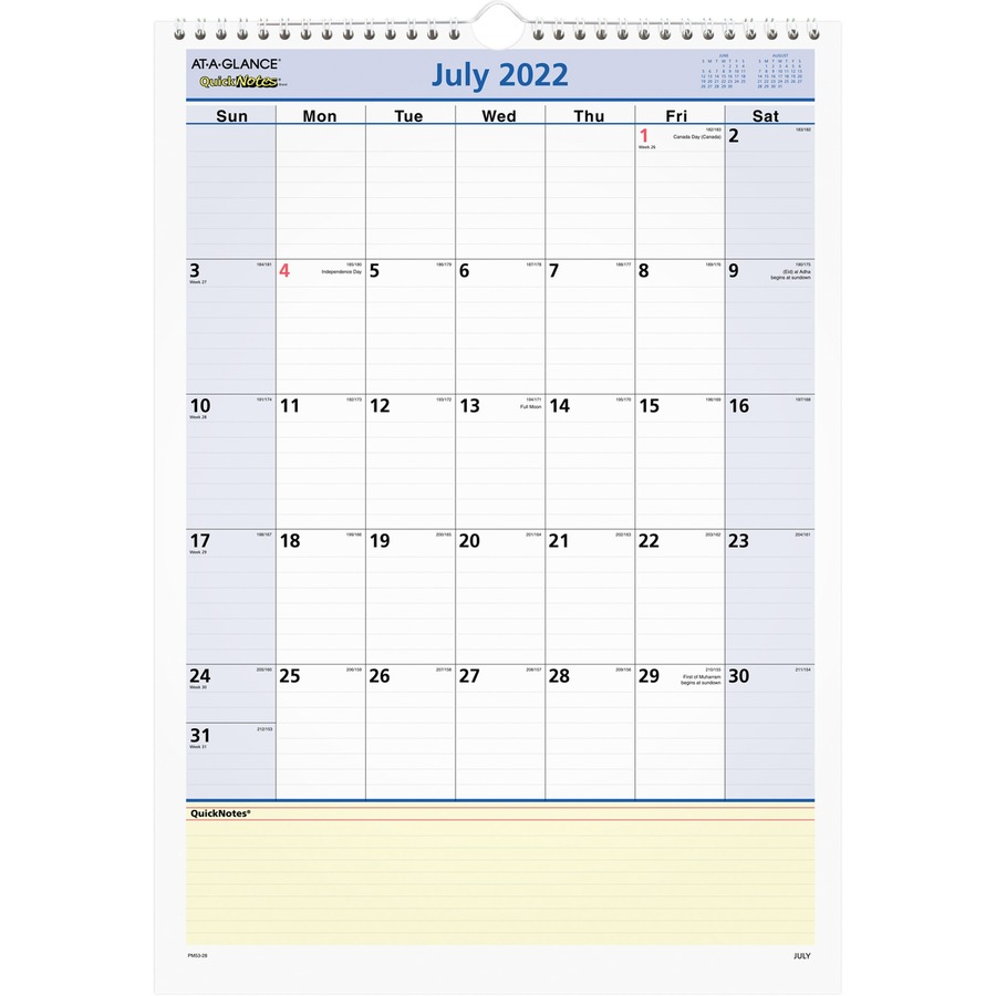 at a glance quicknotes academic monthly wall calendar mac papers inc