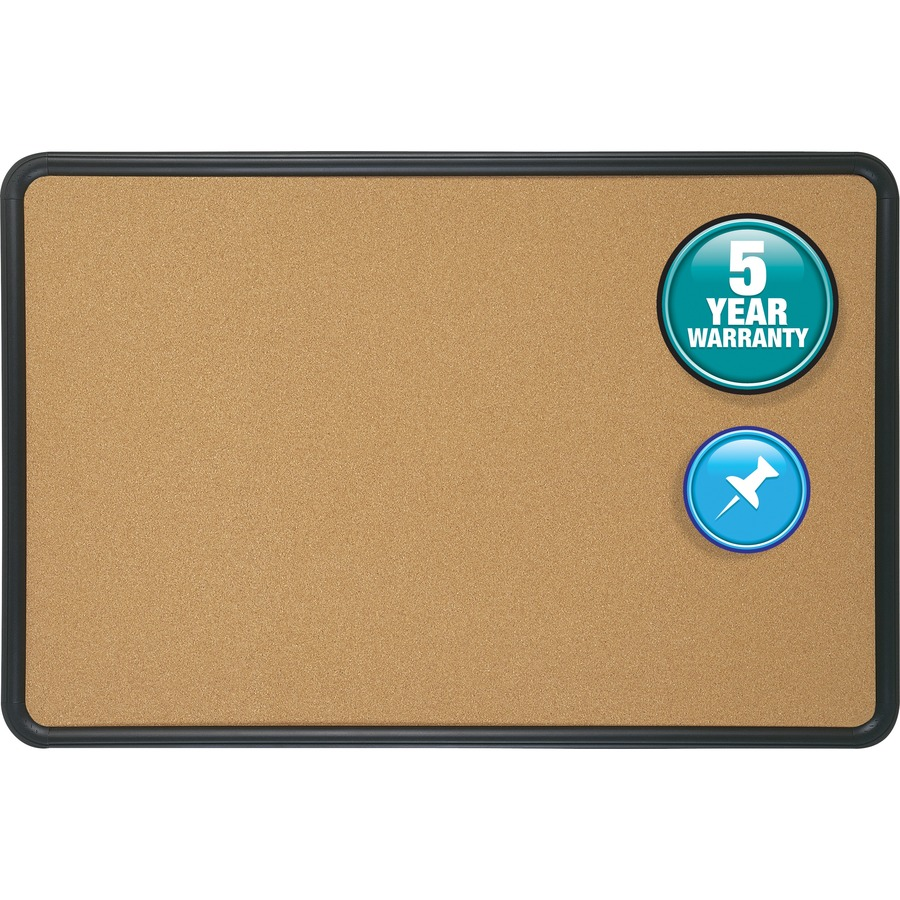 Cork Bulletin Board Quartetr Contourr Cork Bulletin Board 3 X 2 Black Plastic
