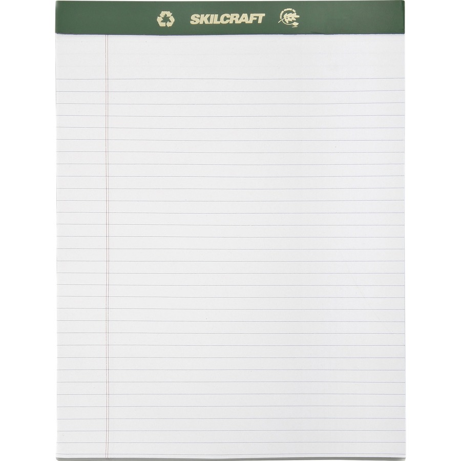 SKILCRAFT Perforated Chlorine Free Writing Pad 50 Sheet - 20lb - Ruled ...