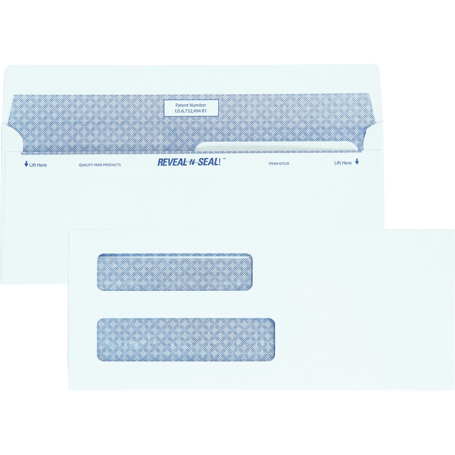 Quality park reveal n seal double window envelopes for Window envelopes