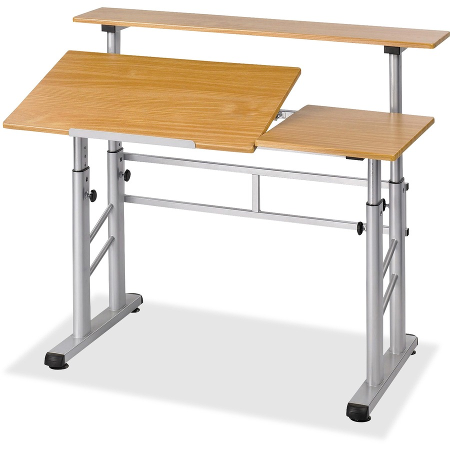 Drafting table dimensions - Safco Height Adjustable Split Level Drafting Table Rectangle Top 37