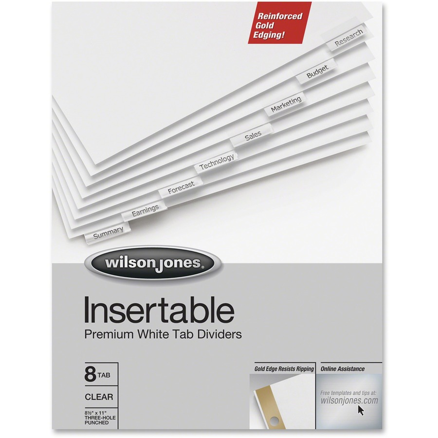 Wilson Jones® Insertable Dividers - Gold Line, 8-Tab Set, Clear Tabs ...