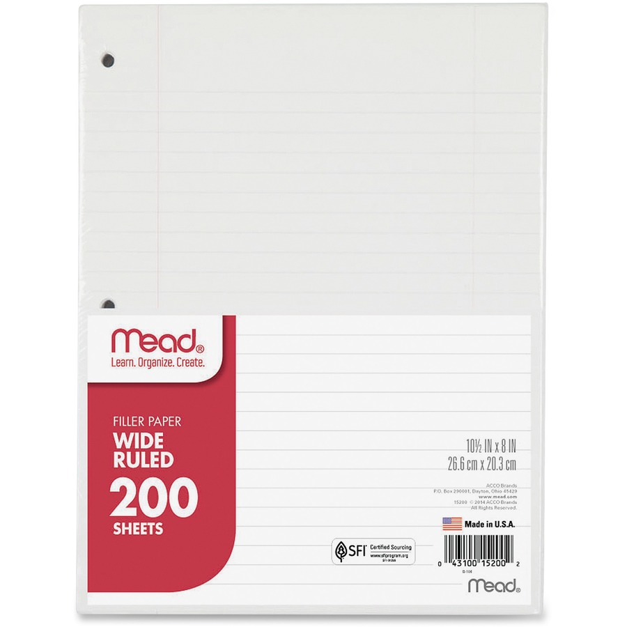 Mead 3 Hole Punched Wide Ruled Filler Paper Mea15200