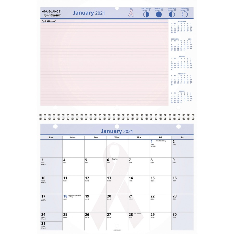 Monthly Wall Calendar : At a glance quicknotes breast cancer awareness calendar